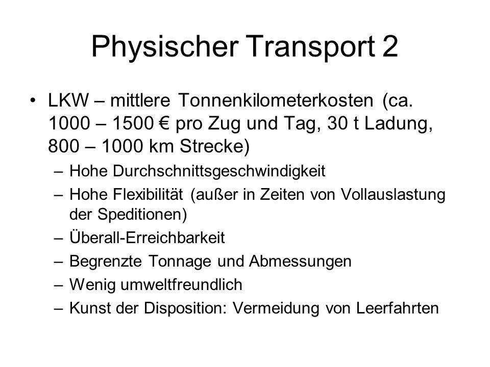 Physischer Transport 2 LKW – mittlere Tonnenkilometerkosten (ca. 1000 – 1500 pro Zug und Tag, 30 t Ladung, 800 – 1000 km Strecke) –Hohe Durchschnittsg