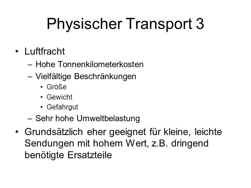 Physischer Transport 3 Luftfracht –Hohe Tonnenkilometerkosten –Vielfältige Beschränkungen Größe Gewicht Gefahrgut –Sehr hohe Umweltbelastung Grundsätz