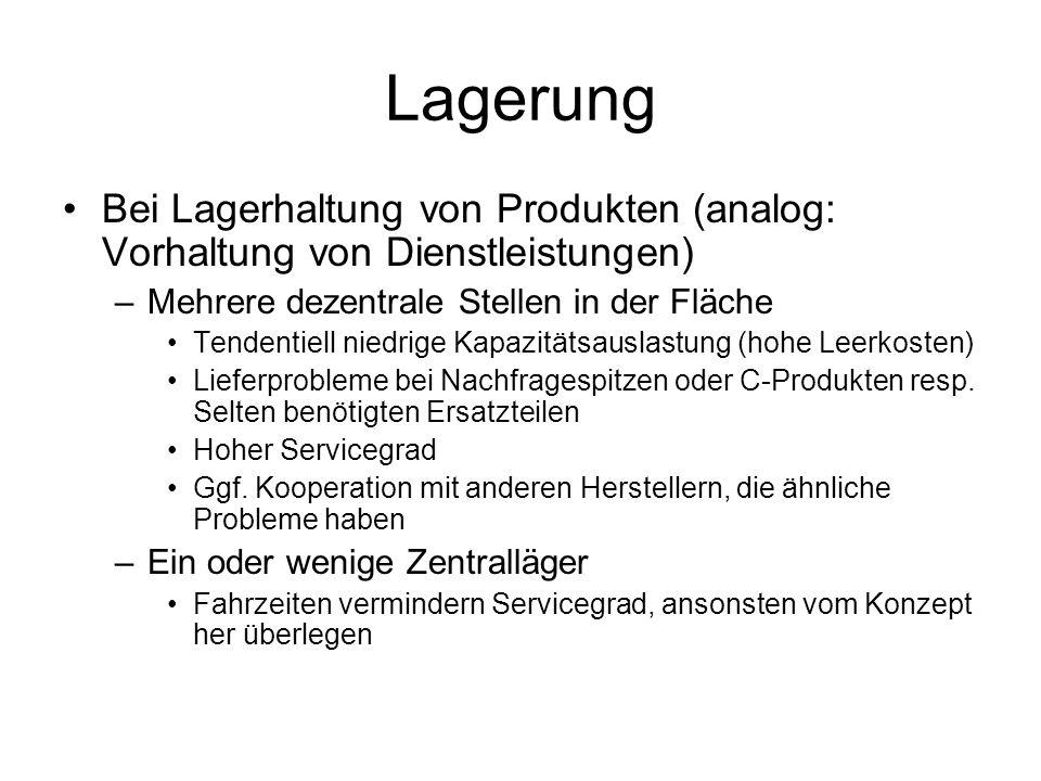 Lagerung Bei Lagerhaltung von Produkten (analog: Vorhaltung von Dienstleistungen) –Mehrere dezentrale Stellen in der Fläche Tendentiell niedrige Kapaz
