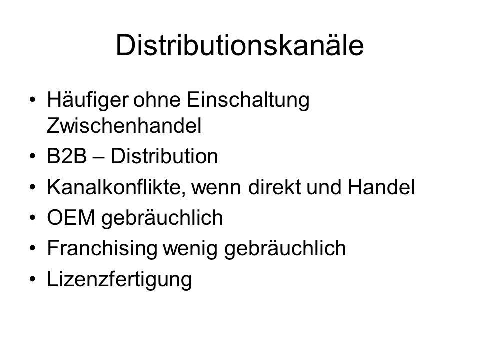Distributionskanäle Häufiger ohne Einschaltung Zwischenhandel B2B – Distribution Kanalkonflikte, wenn direkt und Handel OEM gebräuchlich Franchising wenig gebräuchlich Lizenzfertigung