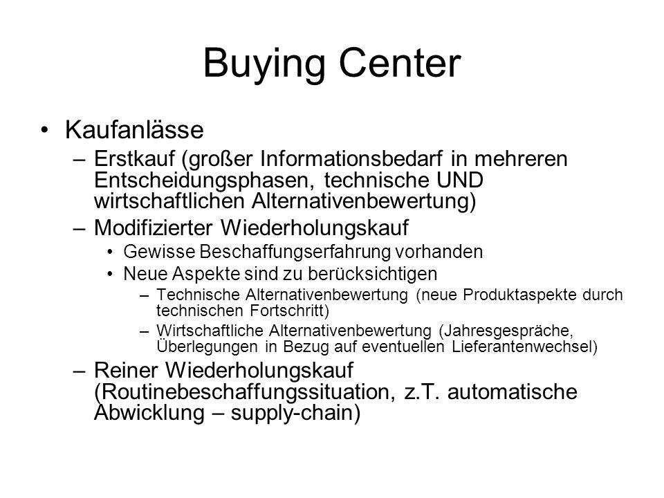 Buying Center Kaufanlässe –Erstkauf (großer Informationsbedarf in mehreren Entscheidungsphasen, technische UND wirtschaftlichen Alternativenbewertung)