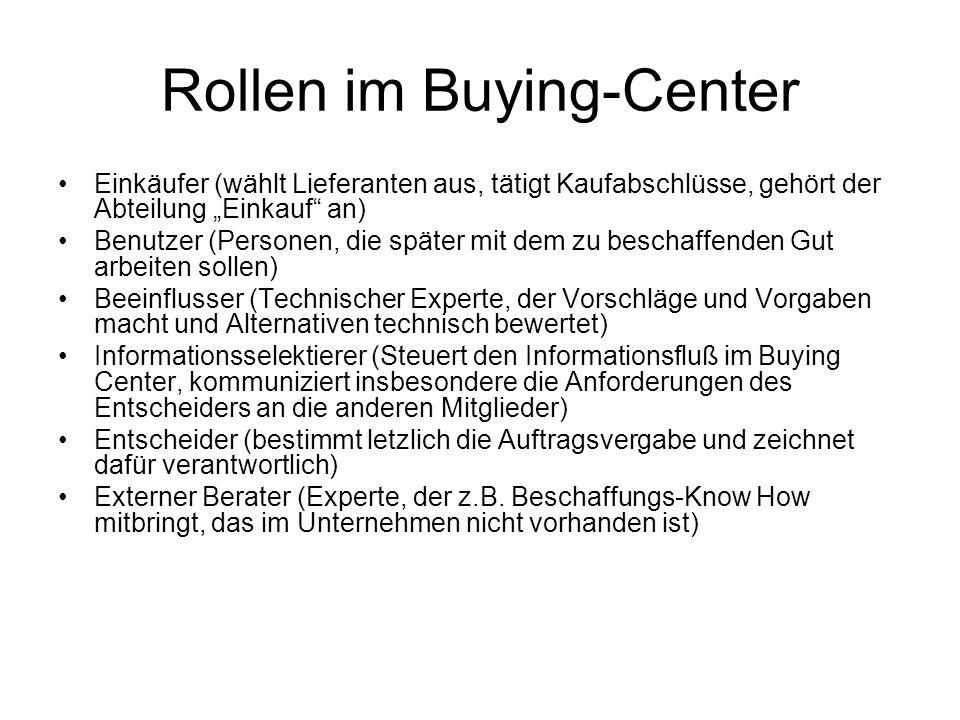 Rollen im Buying-Center Einkäufer (wählt Lieferanten aus, tätigt Kaufabschlüsse, gehört der Abteilung Einkauf an) Benutzer (Personen, die später mit dem zu beschaffenden Gut arbeiten sollen) Beeinflusser (Technischer Experte, der Vorschläge und Vorgaben macht und Alternativen technisch bewertet) Informationsselektierer (Steuert den Informationsfluß im Buying Center, kommuniziert insbesondere die Anforderungen des Entscheiders an die anderen Mitglieder) Entscheider (bestimmt letzlich die Auftragsvergabe und zeichnet dafür verantwortlich) Externer Berater (Experte, der z.B.