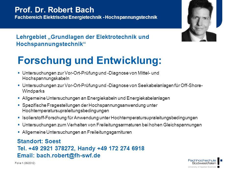 Folie 1 (05/2012) Prof. Dr. Robert Bach Fachbereich Elektrische Energietechnik - Hochspannungstechnik Forschung und Entwicklung: Untersuchungen zur Vo