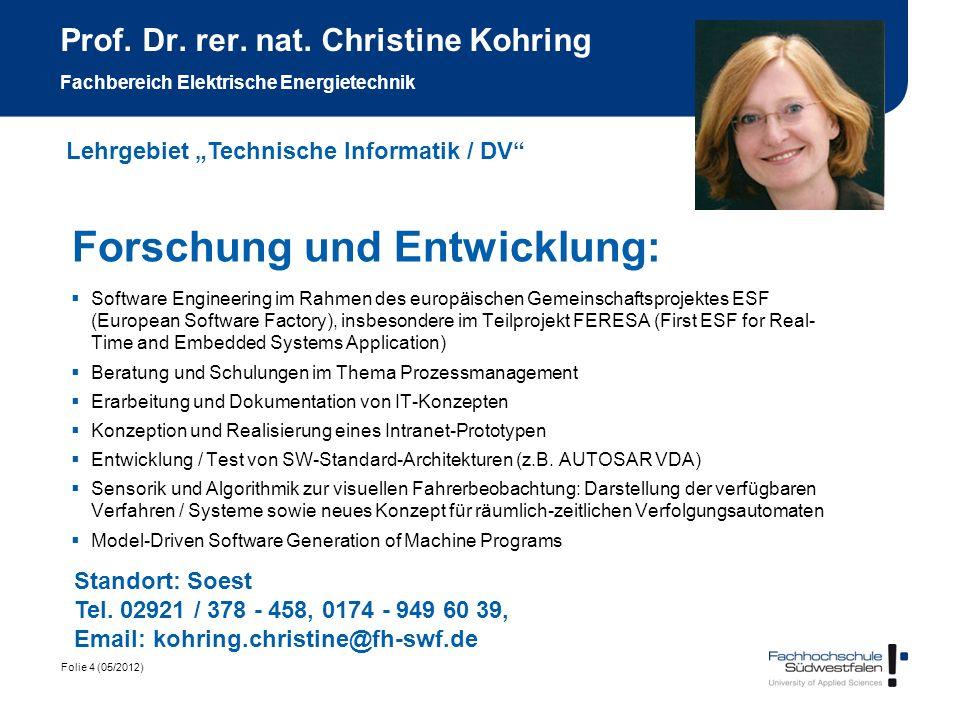 Folie 4 (05/2012) Prof. Dr. rer. nat. Christine Kohring Fachbereich Elektrische Energietechnik Forschung und Entwicklung: Software Engineering im Rahm