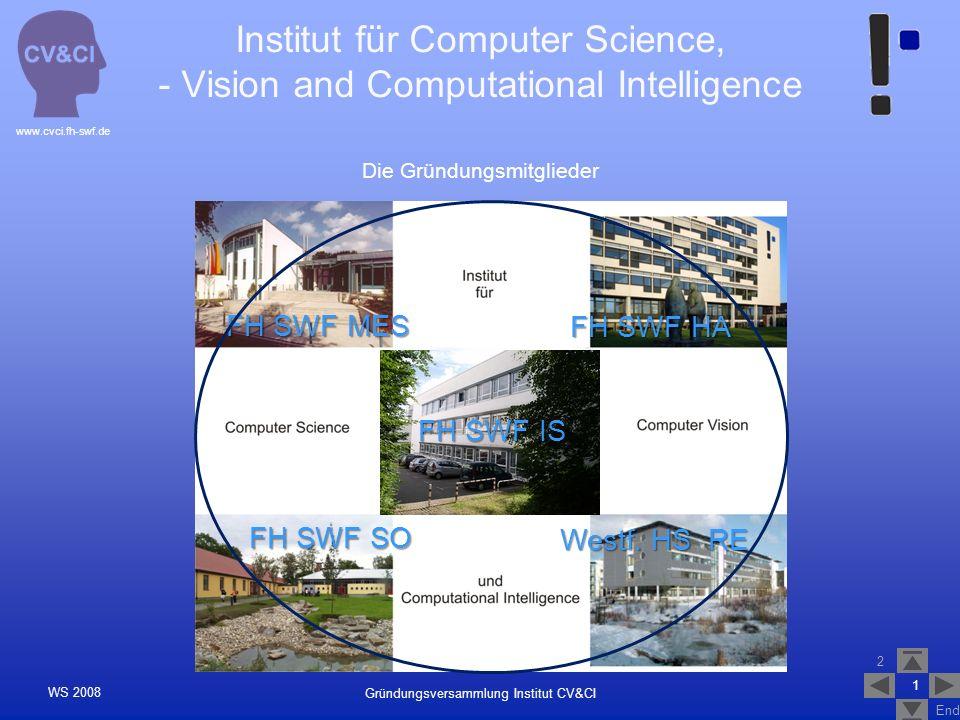 2 End www.cvci.fh-swf.de Gründungsversammlung Institut CV&CI WS 2008 Institutionalisierung der Forschung Forschung an Fachhochschulen muss konsequent institutionell organisiert werden.
