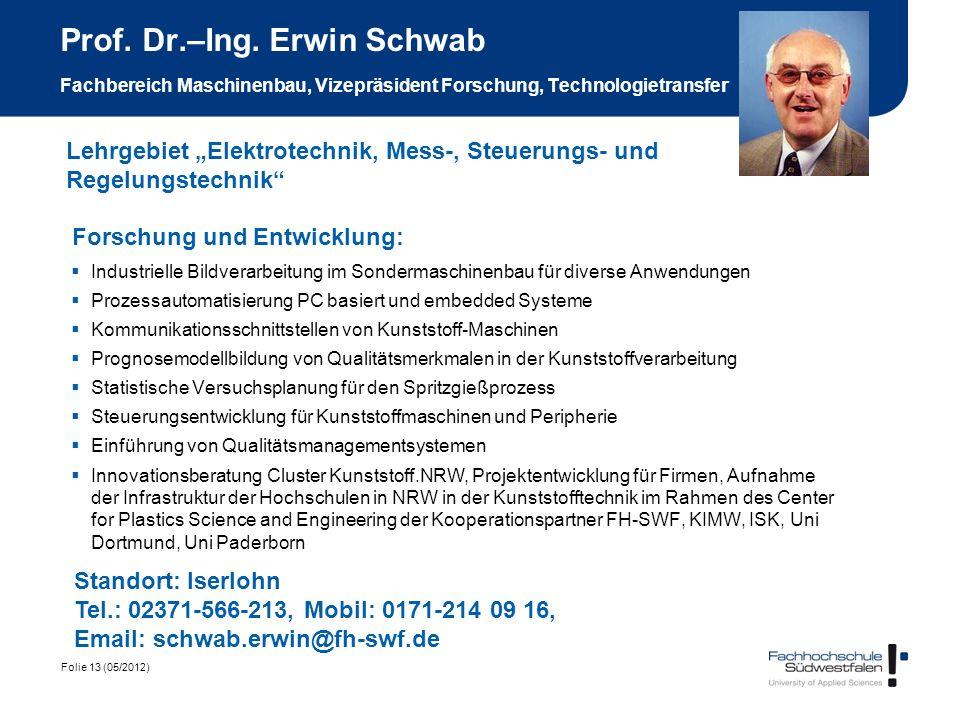 Folie 13 (05/2012) Prof. Dr.–Ing. Erwin Schwab Fachbereich Maschinenbau, Vizepräsident Forschung, Technologietransfe r Forschung und Entwicklung: Indu