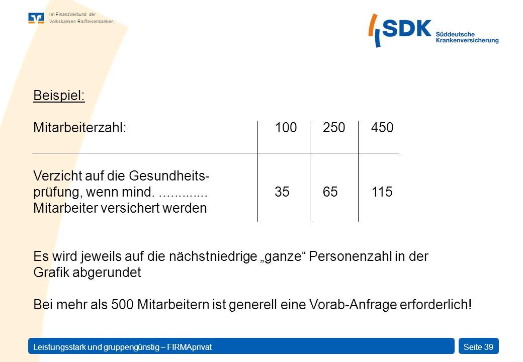 Im FinanzVerbund der Volksbanken Raiffeisenbanken Leistungsstark und gruppengünstig – FIRMAprivatSeite 39 Beispiel: Mitarbeiterzahl:100250450 Verzicht
