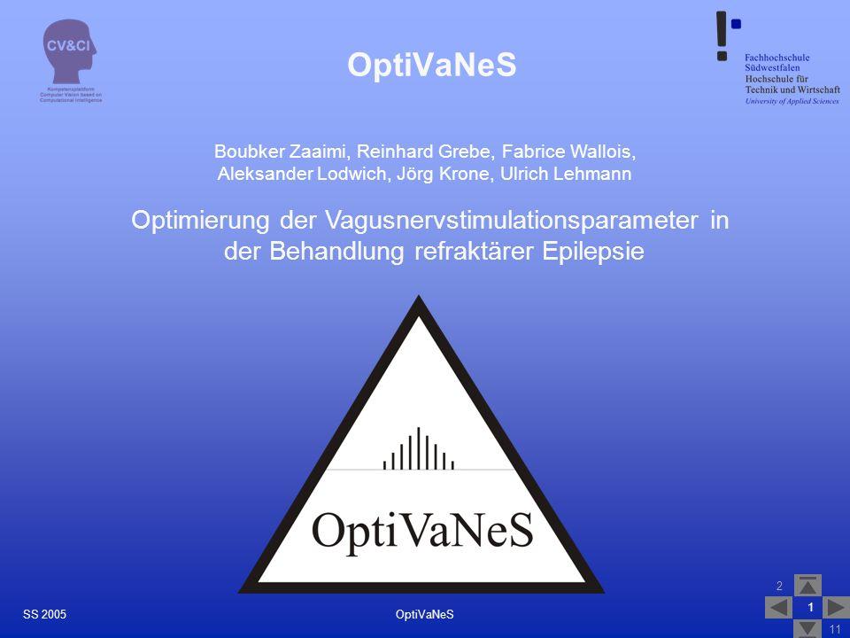 2 11 1 OptiVaNeSSS 2005 OptiVaNeS Boubker Zaaimi, Reinhard Grebe, Fabrice Wallois, Aleksander Lodwich, Jörg Krone, Ulrich Lehmann Optimierung der Vagu