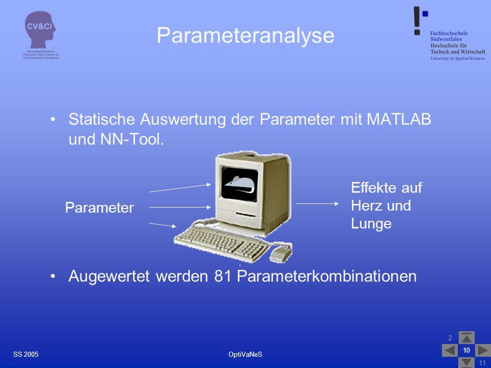 2 11 10 OptiVaNeSSS 2005 Parameteranalyse Statische Auswertung der Parameter mit MATLAB und NN-Tool. Augewertet werden 81 Parameterkombinationen Param
