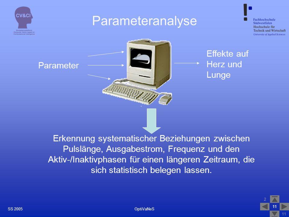 2 11 OptiVaNeSSS 2005 Parameteranalyse Parameter Effekte auf Herz und Lunge Erkennung systematischer Beziehungen zwischen Pulslänge, Ausgabestrom, Frequenz und den Aktiv-/Inaktivphasen für einen längeren Zeitraum, die sich statistisch belegen lassen.
