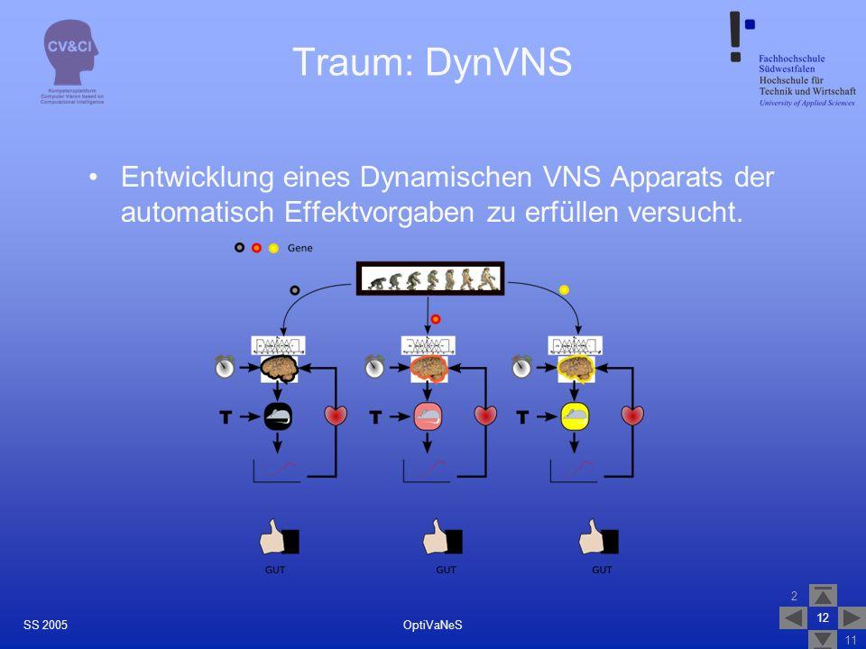 2 11 12 OptiVaNeSSS 2005 Traum: DynVNS Entwicklung eines Dynamischen VNS Apparats der automatisch Effektvorgaben zu erfüllen versucht.