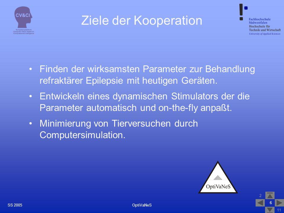 2 11 6 OptiVaNeSSS 2005 Ziele der Kooperation Finden der wirksamsten Parameter zur Behandlung refraktärer Epilepsie mit heutigen Geräten. Entwickeln e