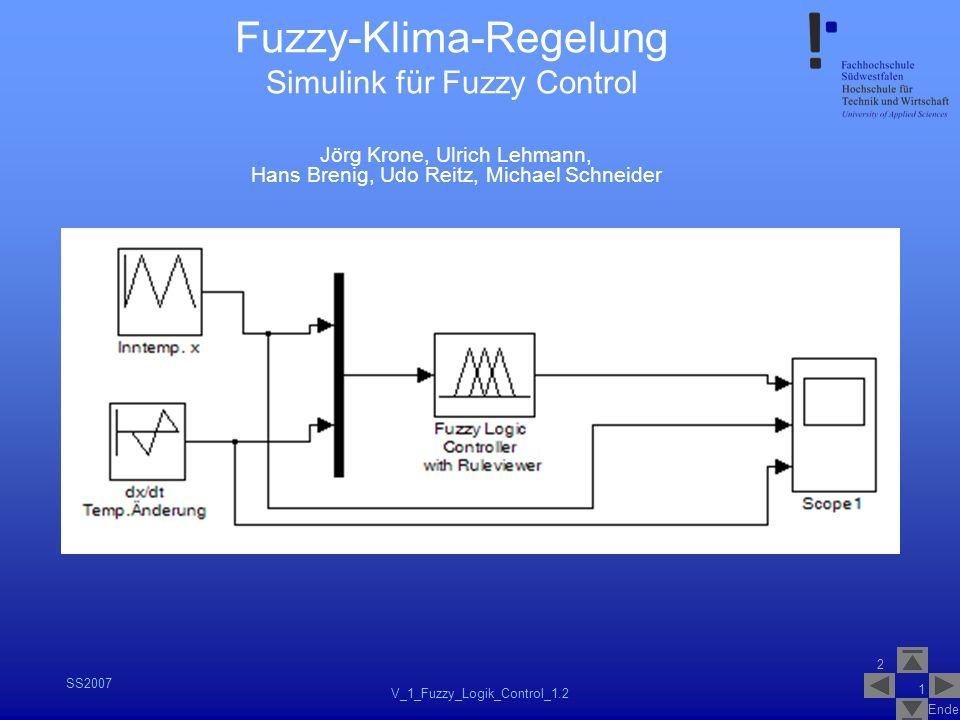 2 Ende SS2007 V_1_Fuzzy_Logik_Control_1.2 1 Fuzzy-Klima-Regelung Simulink für Fuzzy Control Jörg Krone, Ulrich Lehmann, Hans Brenig, Udo Reitz, Michae