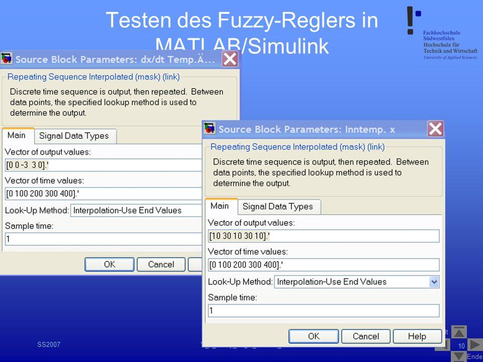 Inhalt Ende SS2007V_1_Fuzzy_Logik_Control_1.2 10 Testen des Fuzzy-Reglers in MATLAB/Simulink