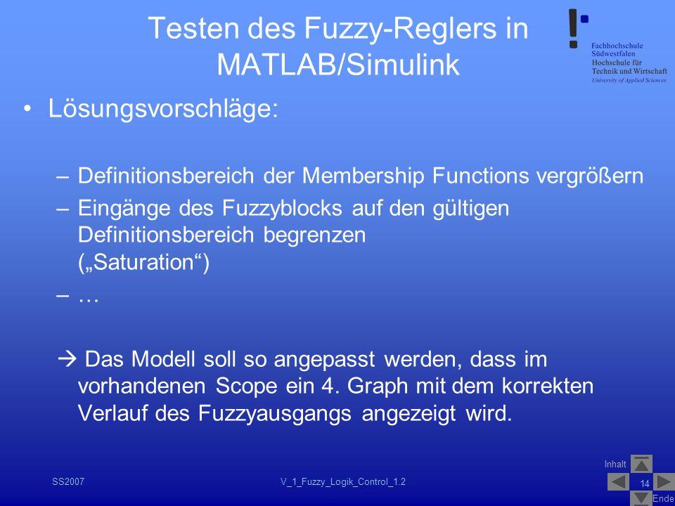 Inhalt Ende SS2007V_1_Fuzzy_Logik_Control_1.2 14 Testen des Fuzzy-Reglers in MATLAB/Simulink Lösungsvorschläge: –Definitionsbereich der Membership Fun