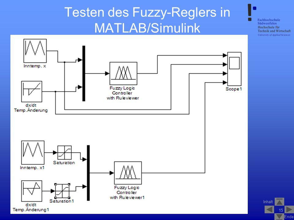 Inhalt Ende SS2007V_1_Fuzzy_Logik_Control_1.2 15 Testen des Fuzzy-Reglers in MATLAB/Simulink