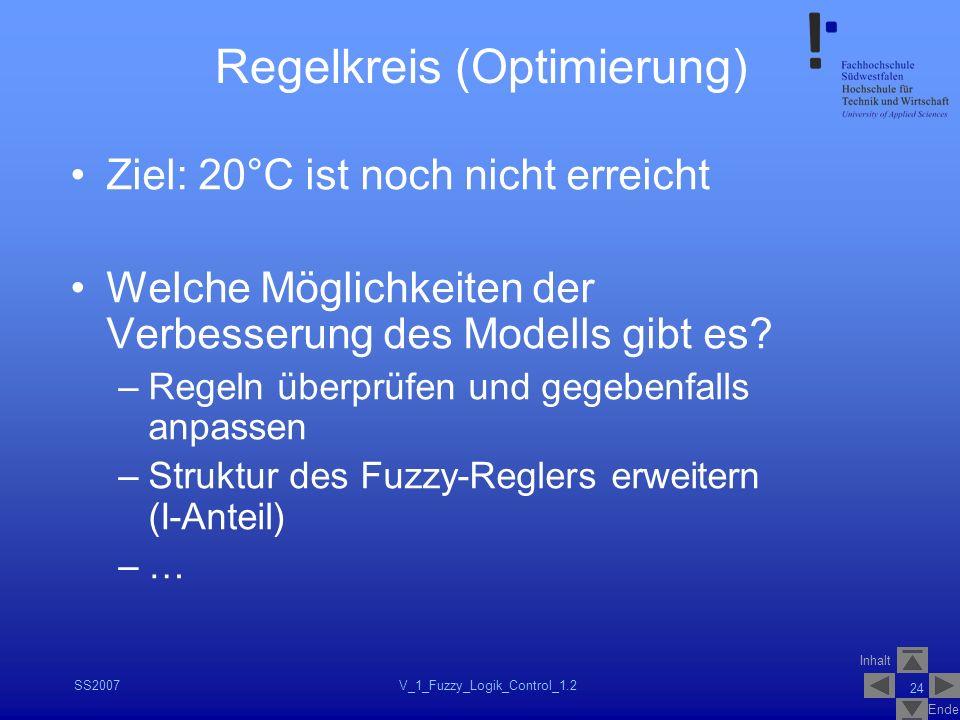 Inhalt Ende SS2007V_1_Fuzzy_Logik_Control_1.2 24 Regelkreis (Optimierung) Ziel: 20°C ist noch nicht erreicht Welche Möglichkeiten der Verbesserung des
