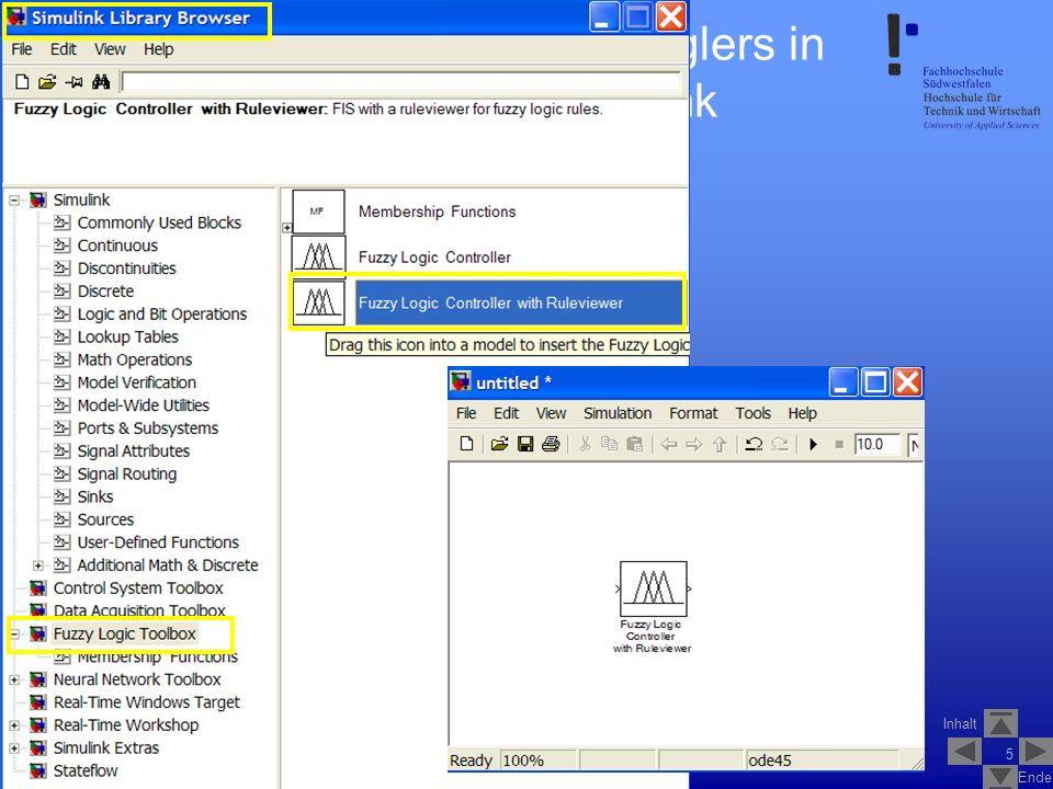 Inhalt Ende SS2007V_1_Fuzzy_Logik_Control_1.2 6 Testen des Fuzzy-Reglers in MATLAB/Simulink Modell speichern Laden der Membership Functions aus dem Workspace in den Funktionsblock (Doppelklick auf den Block) Ist die Simulation zu langsam: Refresh rate sinnvoll erhöhen Name aus dem Workspace