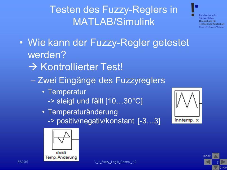 Inhalt Ende SS2007V_1_Fuzzy_Logik_Control_1.2 7 Testen des Fuzzy-Reglers in MATLAB/Simulink Wie kann der Fuzzy-Regler getestet werden? Kontrollierter