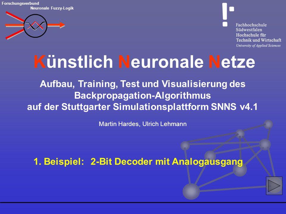 Aufbau, Training, Test und Visualisierung des Backpropagation-Algorithmus auf der Stuttgarter Simulationsplattform SNNS v4.1 Martin Hardes, Ulrich Leh