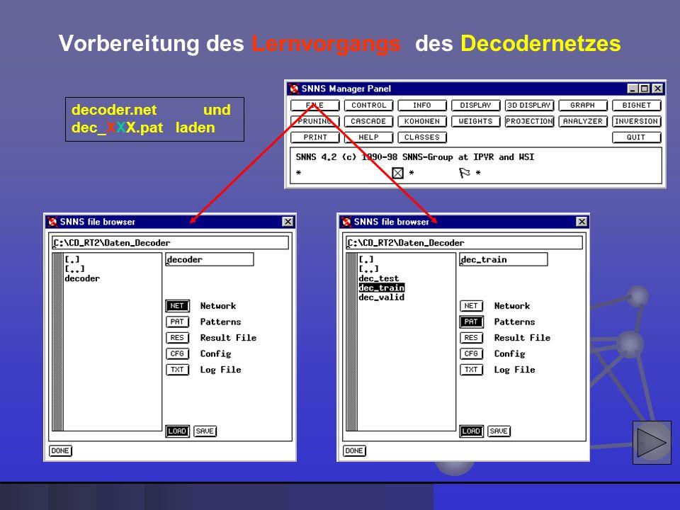 decoder.net und dec_XXX.pat laden Vorbereitung des Lernvorgangs des Decodernetzes