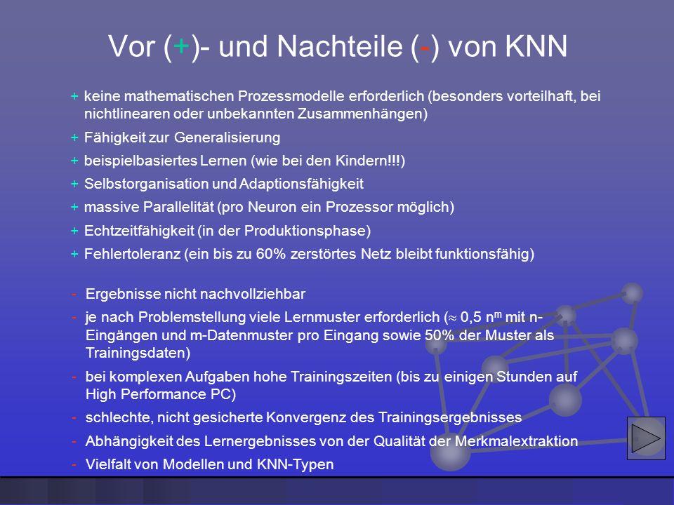 +keine mathematischen Prozessmodelle erforderlich (besonders vorteilhaft, bei nichtlinearen oder unbekannten Zusammenhängen) +Fähigkeit zur Generalisi