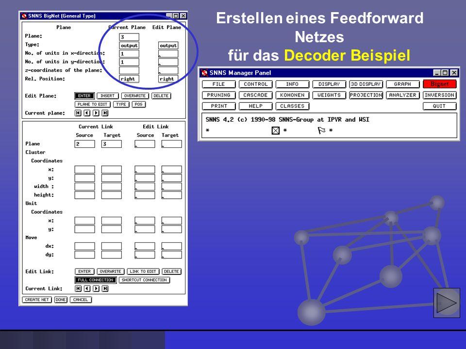 Bignet Erstellen eines Feedforward Netzes für das Decoder Beispiel