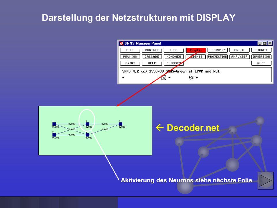 Decoder.net Darstellung der Netzstrukturen mit DISPLAY Display Aktivierung des Neurons siehe nächste Folie