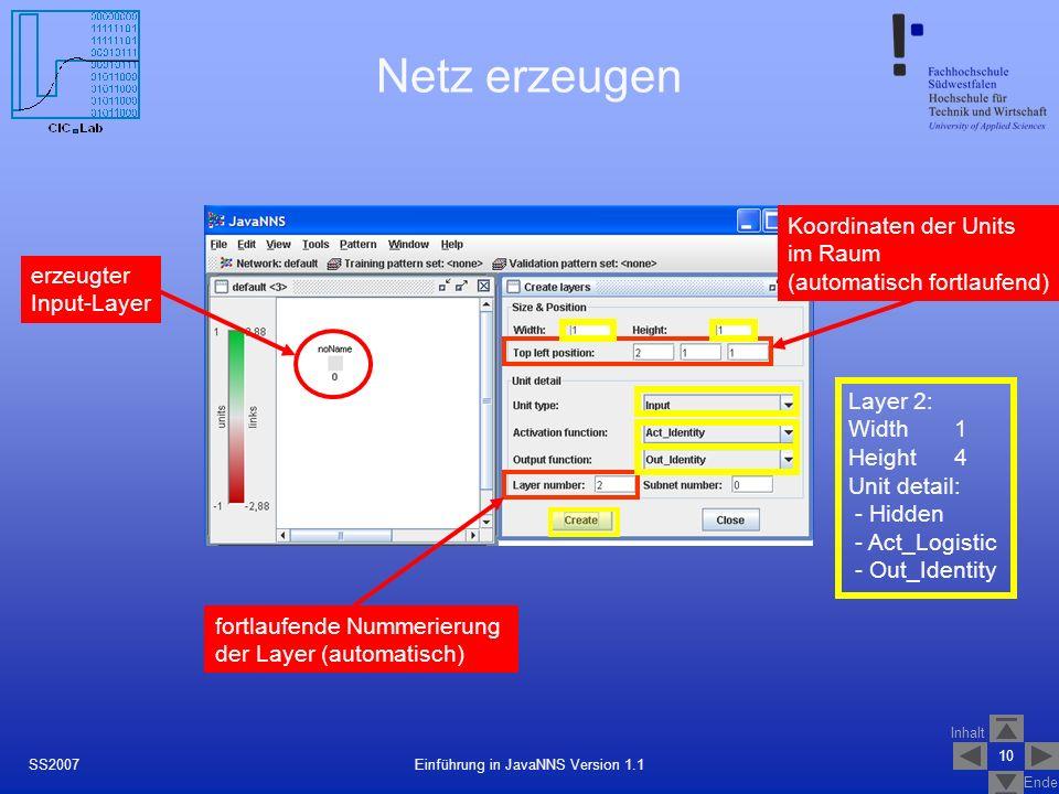 Inhalt Ende 10 Einführung in JavaNNS Version 1.1SS2007 Netz erzeugen erzeugter Input-Layer fortlaufende Nummerierung der Layer (automatisch) Koordinaten der Units im Raum (automatisch fortlaufend) Layer 2: Width 1 Height 4 Unit detail: - Hidden - Act_Logistic - Out_Identity