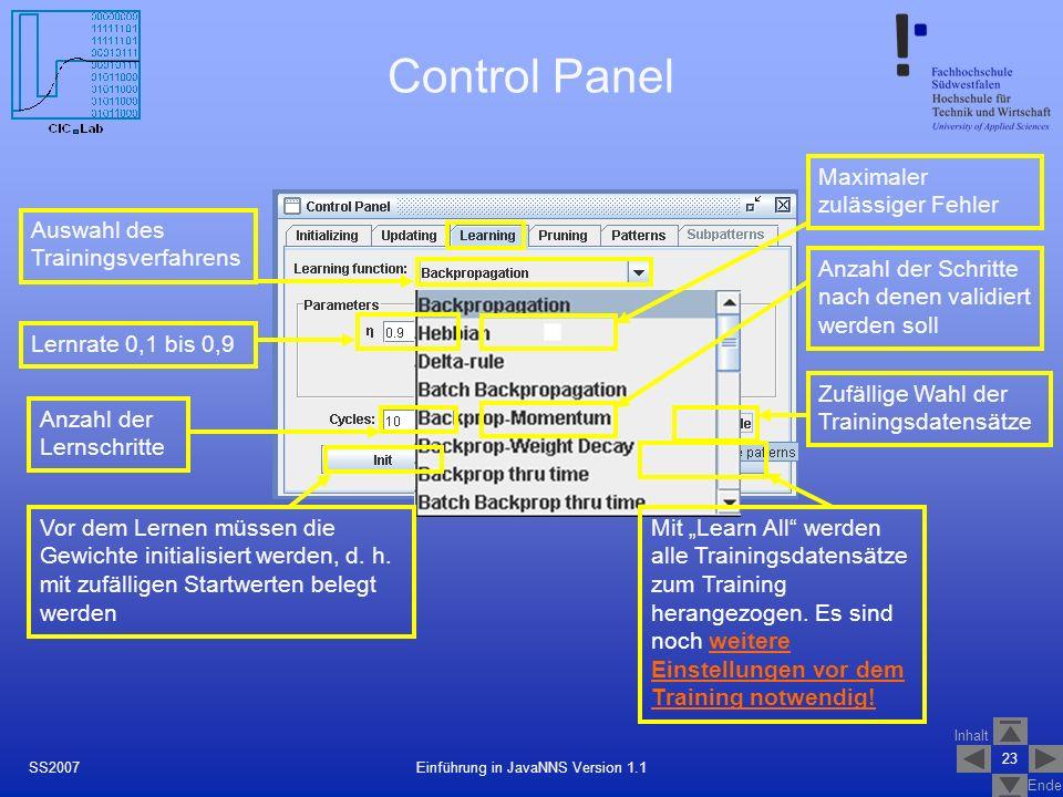 Inhalt Ende 23 Einführung in JavaNNS Version 1.1SS2007 Control Panel Auswahl des Trainingsverfahrens Lernrate 0,1 bis 0,9 Maximaler zulässiger Fehler