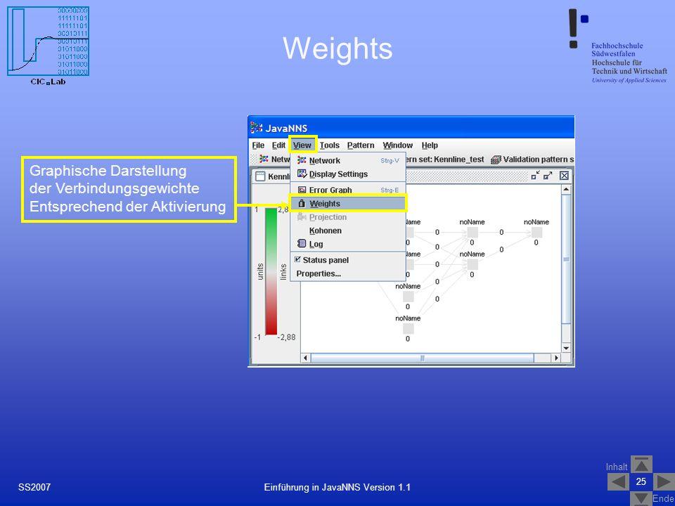 Inhalt Ende 25 Einführung in JavaNNS Version 1.1SS2007 Weights Graphische Darstellung der Verbindungsgewichte Entsprechend der Aktivierung