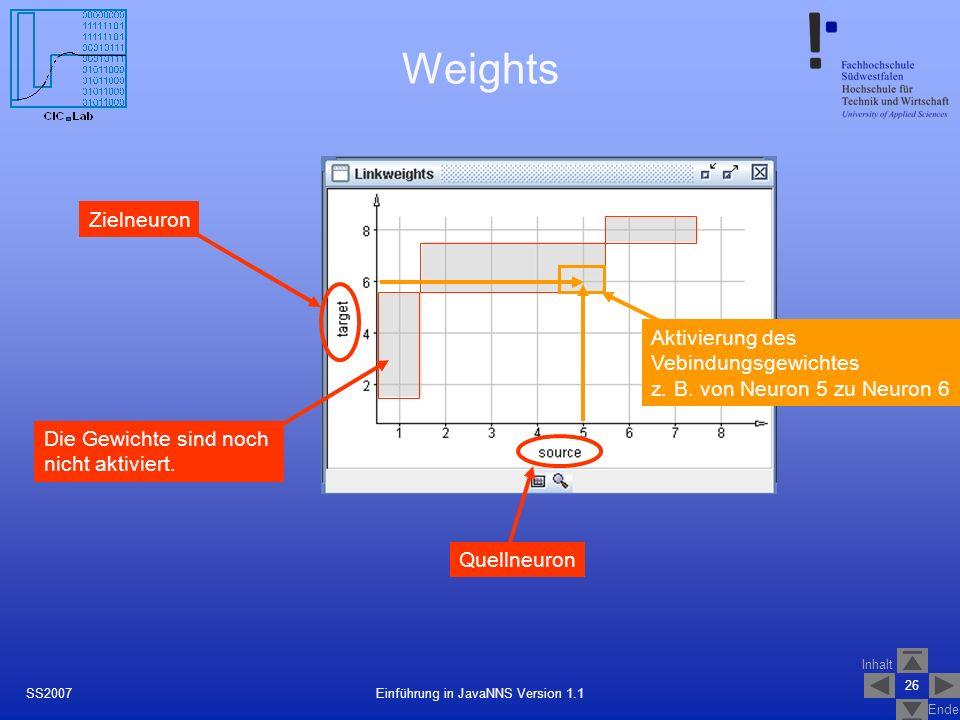 Inhalt Ende 26 Einführung in JavaNNS Version 1.1SS2007 Weights Zielneuron Quellneuron Die Gewichte sind noch nicht aktiviert. Aktivierung des Vebindun