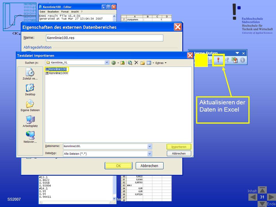 Inhalt Ende 31 Einführung in JavaNNS Version 1.1SS2007 Excel Aktualisieren der Daten in Excel