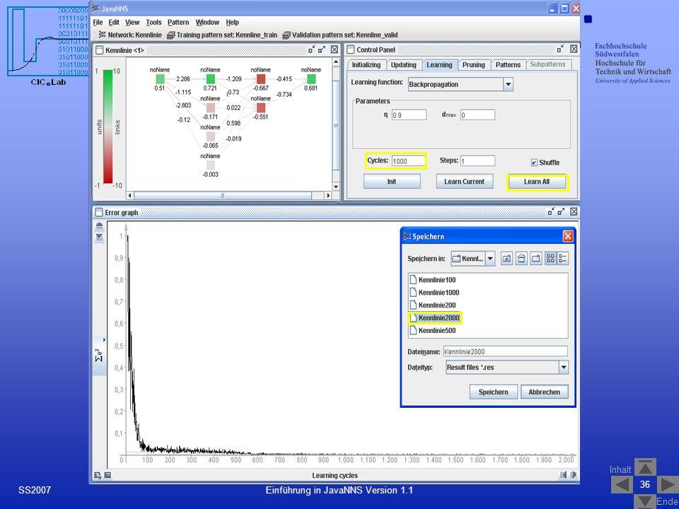 Inhalt Ende 36 Einführung in JavaNNS Version 1.1SS2007 Training