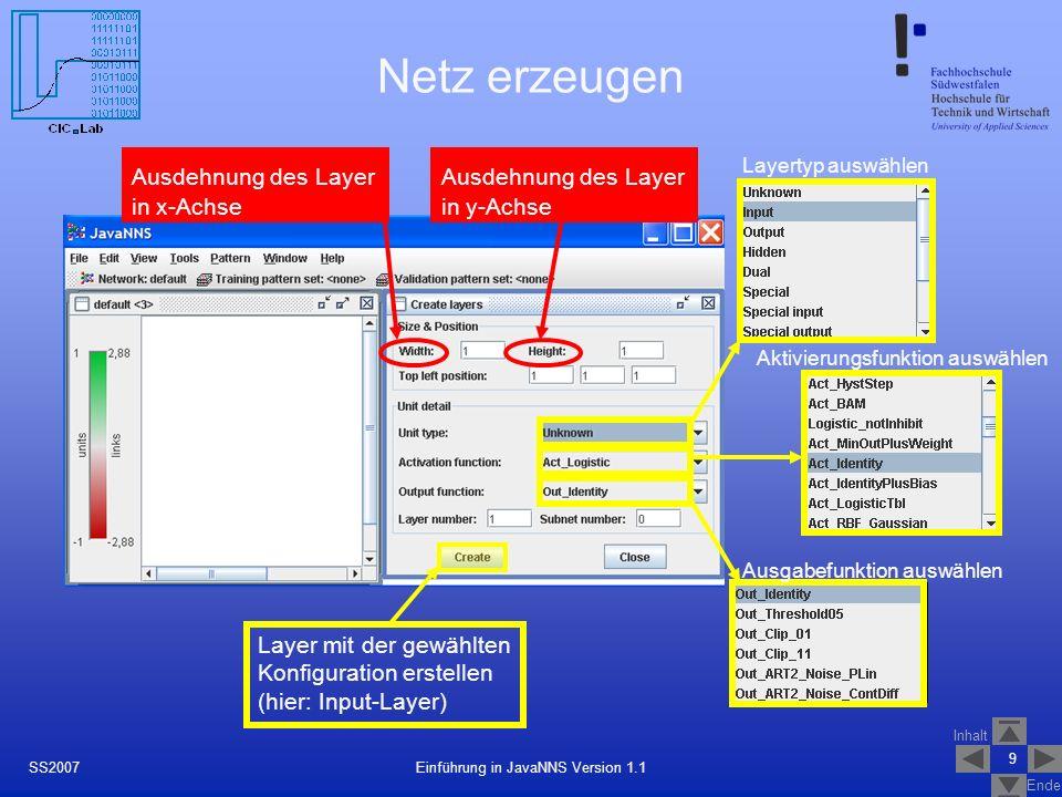 Inhalt Ende 9 Einführung in JavaNNS Version 1.1SS2007 Netz erzeugen Ausdehnung des Layer in x-Achse Ausdehnung des Layer in y-Achse Aktivierungsfunkti
