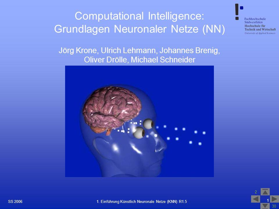 SS 2006 2 30 1 1. Einführung Künstlich Neuronale Netze (KNN) R1.5 Computational Intelligence: Grundlagen Neuronaler Netze (NN) Jörg Krone, Ulrich Lehm