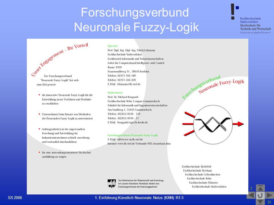 SS 2006 2 30 22 1. Einführung Künstlich Neuronale Netze (KNN) R1.5 Forschungsverbund Neuronale Fuzzy-Logik