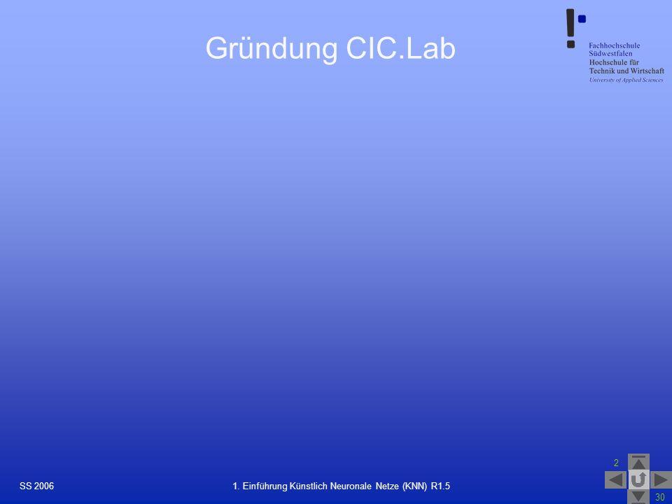 SS 2006 2 30 24 1. Einführung Künstlich Neuronale Netze (KNN) R1.5 Gründung CIC.Lab