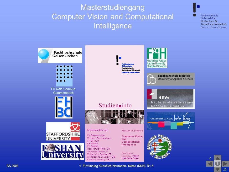 SS 2006 2 30 29 1. Einführung Künstlich Neuronale Netze (KNN) R1.5 In Kooperation mit: FH Gelsenkirchen FH Köln, Gummersbach FH Bochum FH Aachen FH Bi