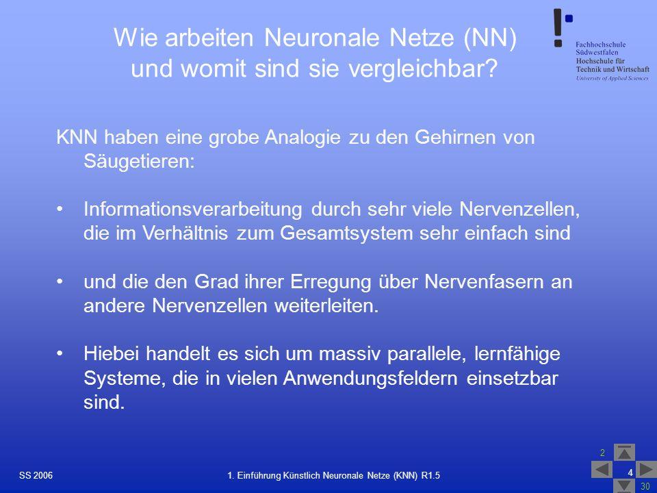 SS 2006 2 30 4 1. Einführung Künstlich Neuronale Netze (KNN) R1.5 Wie arbeiten Neuronale Netze (NN) und womit sind sie vergleichbar? KNN haben eine gr