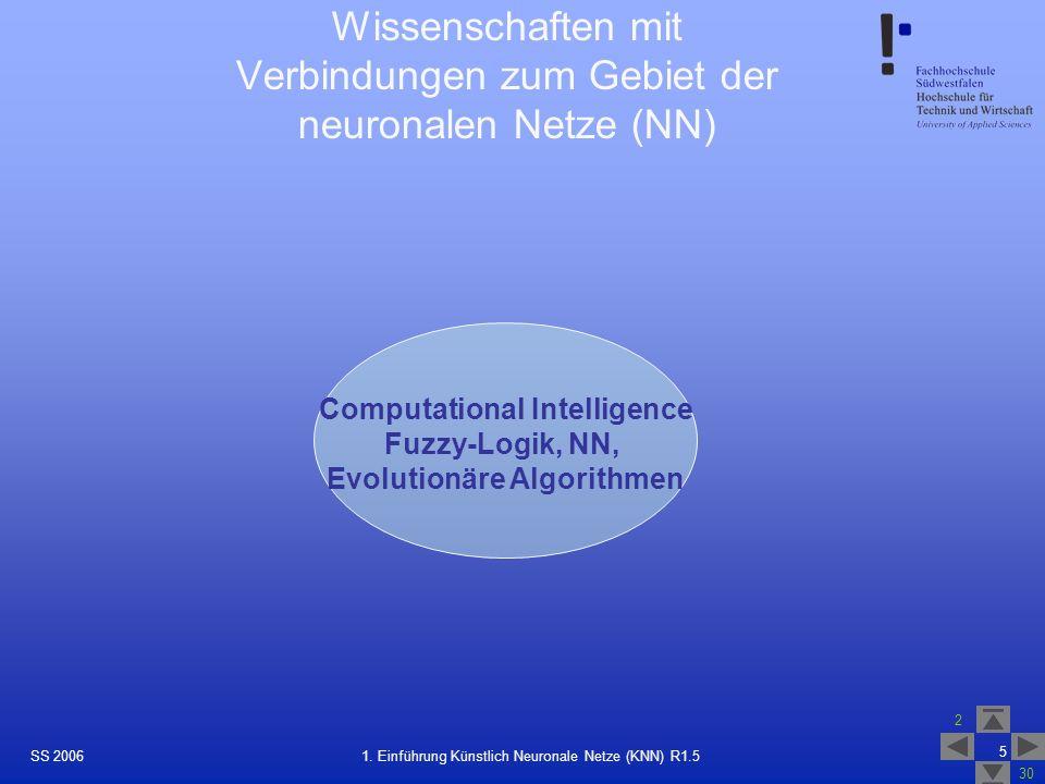 SS 2006 2 30 5 1. Einführung Künstlich Neuronale Netze (KNN) R1.5 Wissenschaften mit Verbindungen zum Gebiet der neuronalen Netze (NN) Computational I