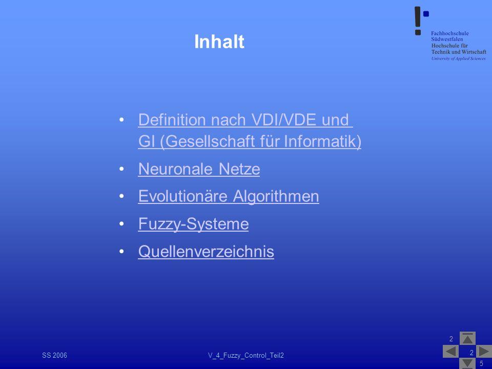 2 5 SS 2006V_4_Fuzzy_Control_Teil2 2 Inhalt Definition nach VDI/VDE und GI (Gesellschaft für Informatik)Definition nach VDI/VDE und GI (Gesellschaft f
