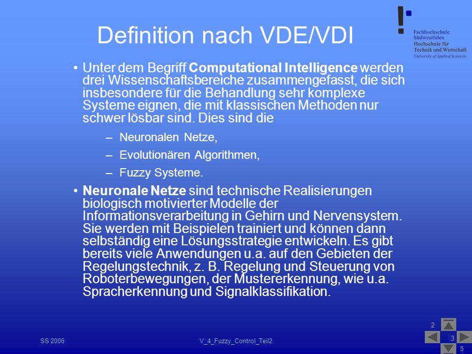 2 5 SS 2006V_4_Fuzzy_Control_Teil2 3 Definition nach VDE/VDI Unter dem Begriff Computational Intelligence werden drei Wissenschaftsbereiche zusammenge
