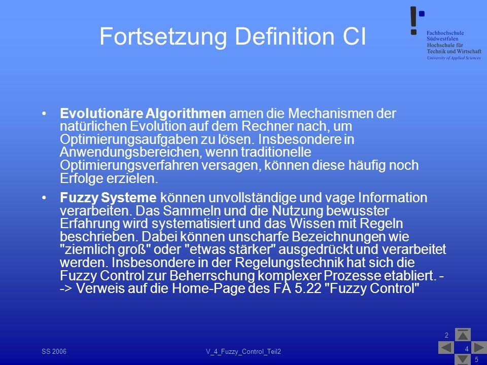 2 5 SS 2006V_4_Fuzzy_Control_Teil2 4 Fortsetzung Definition CI Evolutionäre Algorithmen amen die Mechanismen der natürlichen Evolution auf dem Rechner