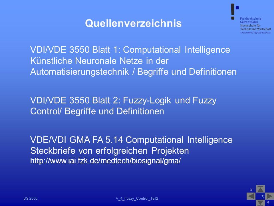 2 5 SS 2006V_4_Fuzzy_Control_Teil2 5 Quellenverzeichnis VDI/VDE 3550 Blatt 1: Computational Intelligence Künstliche Neuronale Netze in der Automatisie