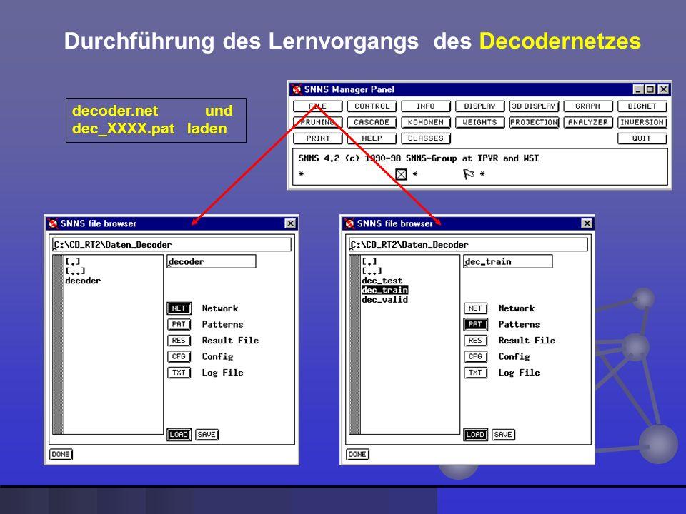 Durchführung des Lernvorgangs des Decodernetzes decoder.net und dec_XXXX.pat laden
