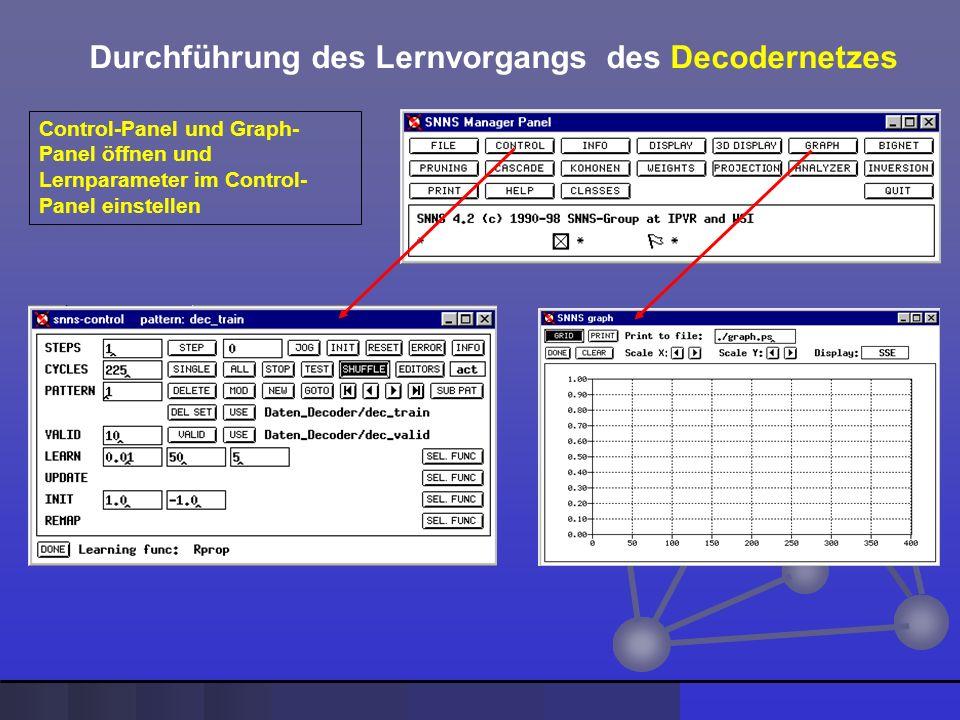 Durchführung des Lernvorgangs des Decodernetzes Control-Panel und Graph- Panel öffnen und Lernparameter im Control- Panel einstellen