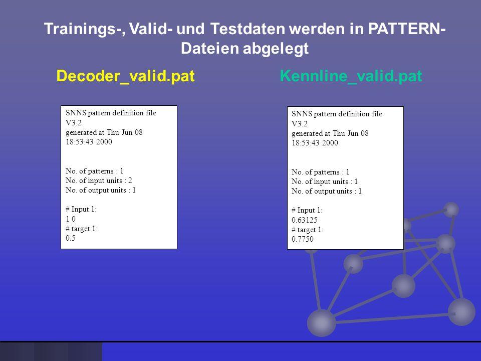 Trainings-, Valid- und Testdaten werden in PATTERN- Dateien abgelegt Decoder_test.pat Kennline_test.pat SNNS pattern definition file V3.2 generated at Thu Jun 08 18:53:43 2000 No.