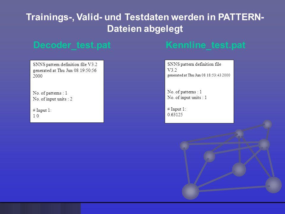 Trainings-, Valid- und Testdaten werden in PATTERN- Dateien abgelegt Decoder_test.pat Kennline_test.pat SNNS pattern definition file V3.2 generated at