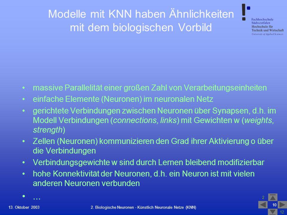 13. Oktober 2003 2 12 10 2. Biologische Neuronen - Künstlich Neuronale Netze (KNN) Modelle mit KNN haben Ähnlichkeiten mit dem biologischen Vorbild ma